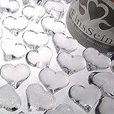 EinsSein 30x Dekosteine Funkelnde Herzen 22mm klar Dekoration Streudeko Konfetti Tischdeko Hochzeit Konfetti Diamanten Diamant Glas groß - 2
