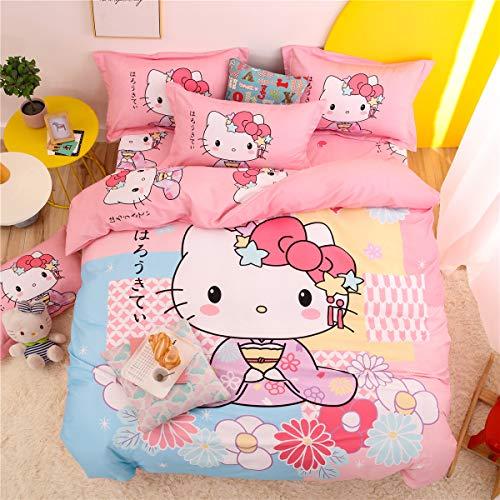 Cenarious Japanese Pattern Kimono Hello Kitty Sakura Cartoon Bedding Set Kids 100% Cotton Duvet Cover and Pillow Cases and Flat Sheet - Girls - 4 Pieces - Full
