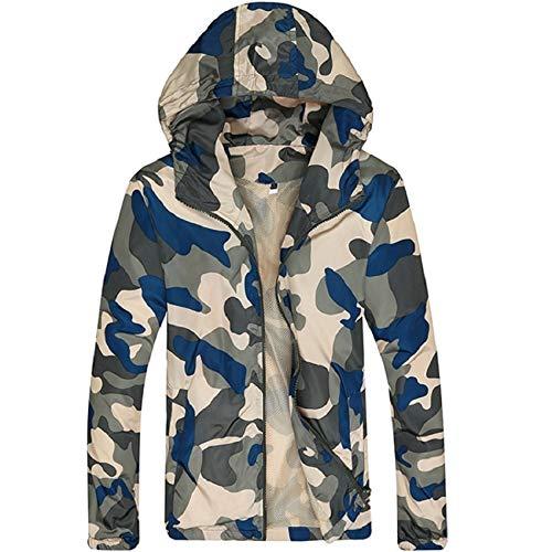 Loeay Herren Hoodie Softshell Jacke Camouflage Leichte Jacken Slim Fit Langarm Reißverschluss Army Tactical Military Jacken Mantel Gelb Blau L
