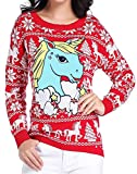 v28 Ugly Christmas Sweater, Women Girl Junior Unicorn Clothes Jumper Red Sweater (X-Small, Cute Unicorn)