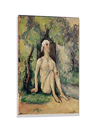 kunst für alle Glasbild: Paul Cézanne Baigneur Assis au Bord de l EAU, hochwertiges Wandbild, brillanter Druck auf Echtglas, 60x80 cm