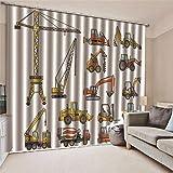 JRCURTAIN 3D Vorhang Blickdicht Bagger Gardine Polyester Mit Haken Für Schlafzimmer Kinderzimmer Wohnzimmer Dekoration 2Er Set,170x200cm