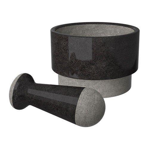 Ikea Luxus ÄDELSTEN - Mortero con mano (mármol), color negro