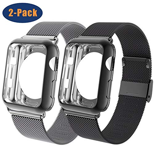 OHCBOOGIE Compatible for Apple Watch Band 38mm 40mm 42mm 44mm with Case, Wristband Loop Replacement Band Compatible Iwatch Series 5,Series 4,Series 3,Series 2,Series 1,2pack
