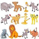 León Mini Figuras, 12 Piezas León Cake Topper Mini Juego de Figuras Niños Mini Juguetes Baby Shower Fiesta de cumpleaños Pastel Decoración Suministros