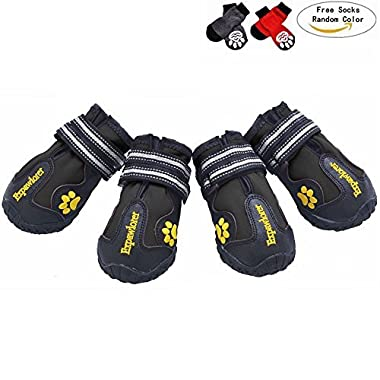 EXPAWLORER Waterproof Dog Boots with Reflective Velcro and Anti-Slip Sole for Medium to Large Dogs, Black 6