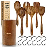 Pohex Teak Wood 12 Piece Kitchen Utensil Set with Wooden Holder/Barrel, 6 Gadgets Wooden Spatula, Spurtle, Slotted Spoon, Salad Spoon and Fork, Small Mixing Spoon and 6 Hooks Handmade Cookware No BPA