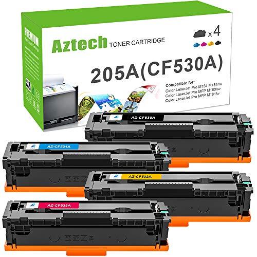 Aztech Kompatibel 205A Toner Cartridge Replacement für HP CF530A CF531A CF532A CF533A für HP Color Laserjet Pro MFP M181fw M180n HP Color Laserjet Pro M181fw M180n M180nw M154a M154nw Toner