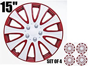 SUMEX Tampa Performance Wheel Cover, Hub Cap (Pack of 4) (15, red & White)