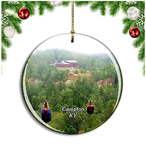 Weekino Campton Kentucky USA Christmas Ornament Xmas Tree Decoration Hanging Pendant Travel Souvenir Collection Double Sided Porcelain 2.85 Inch
