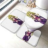 Yu_Gi_Oh - Juego de alfombras de baño de franela cómodas para baño y alfombras antideslizantes suaves para baño + almohadillas de contorno