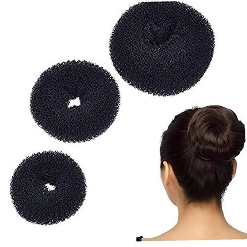 3pieces Donut Bun Maker Chignon Maker Coiffure Outil Bricolage Annulaire Bun Maker Set Pour Chignon Cheveux De Grandes, Moyennes Et Petites (Noir)