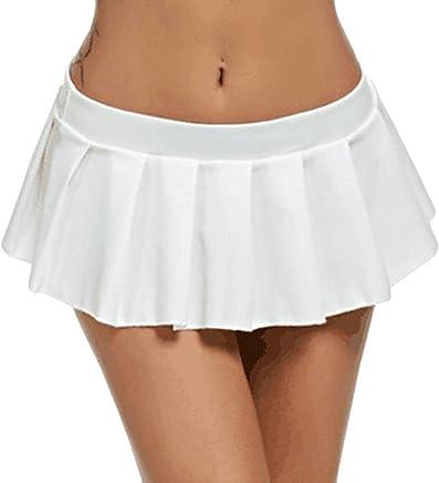 Elogoog Hot Sale 2018 Pleated Skirt, Women's Basic Versatile Stretchy Flared Casual Super Mini Club Skater Skirts (White, L)