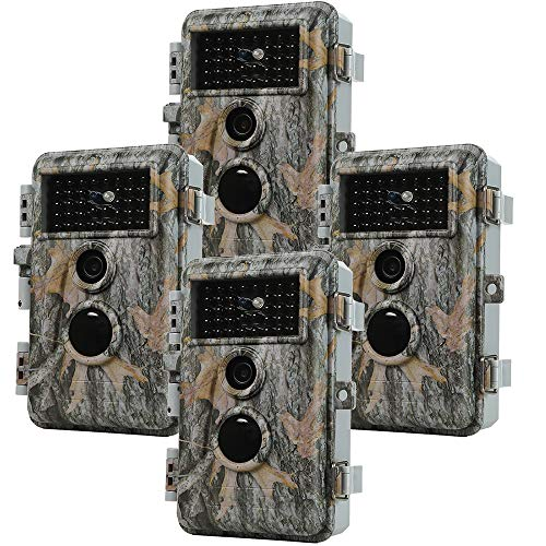 Folgtek 4pcs Wildlife Camera 20MP Hunting Cam Trail Camera 1080P Video with Night Vision Waterproof Motion Activated and Password Protected