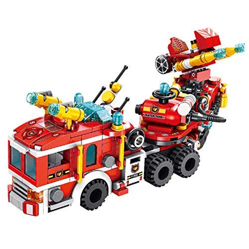 NXNX 557Pcs 12 En 1 Fire Town Truck Set Building Blocks Combat Helicopter Fire Station Block Toys Regalos