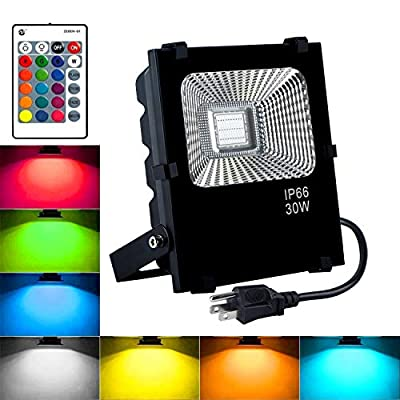 RGB LED Flood Lights,30W Outdoor Color Changing Floodlight with Remote Control,IP66 Waterproof Stage Lights,16 Colors 4 Modes Dimmable Wall Washer Light,with US 3-Plug