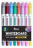Rotuladores para Pizarra Blanca de SmartPanda – Punta Doble, Mediana y Fina – Borrado Seco, Ideal para el Hogar, Escuela u Oficina – Juego de 8 Colores Variados (8)