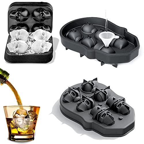 Sdoowes 2Stücke(6und4 Gitter ) Schädel Eiswürfelform, Silikon Eiswürfel Skelettform Eiswürfelform Eiswürfel Silikon für Whisky Cocktails Saft Schokolade Süßigkeiten BPA Ice Cube