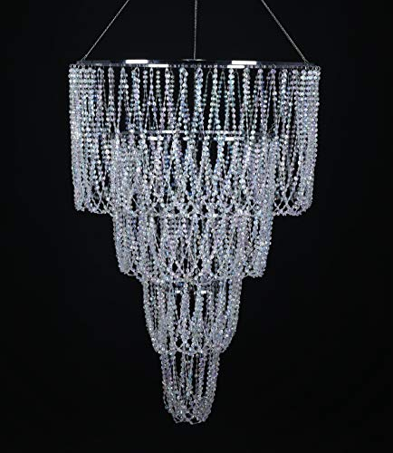 "FlavorThings 4 Tiered Large Wedding Chandelier,Faux Crystal Iridescent Beaded Swag Chandelier, 24"" Wide 3 Ft Long,Great idea for Wedding Centerpieces Decorations and Any Event Party Home Decor"