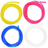 Hilitchi 20-Feet 4 Color Transparent Petrol Fuel Line Hose Lubricant of 4 Sizes Tubing for...