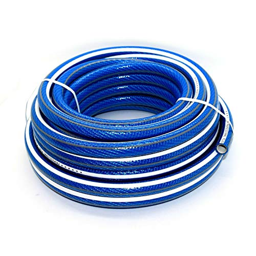 SolaDirect 50 m of 1/2 in 6 Layers Heavy Duty Blue Garden Hose Anti Kink Reinforced Pipe Outdoor...
