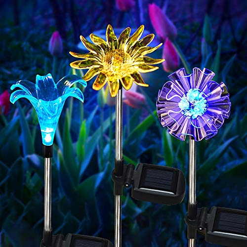 Solar Outdoor Garden Lights, 3 Pack Solar Flower Lights, Multi-Color Changing Flowers Stake Lights for Path Patio Yard Lawn Halloween Christmas Festival Decoration-Dandelion Lily Sunflower
