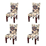 Jiuhong Stretch Removable Washable Short Dining Chair Protector Cover Slipcover, Style 03, 4 Pack