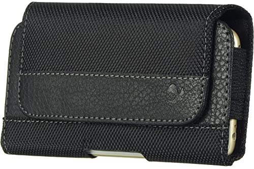 Horizontal Cell Phone Holster Pouch Case with Belt Clip for Samsung Galaxy Xcover 5, S21 S20 5G, A01, Note 10, A10e, J2 Pure, Xcover 4s, A20e, A40, S10e, S10 (Black Nylon)