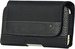 VanGoddy Cell Phone Case for Kyocera Hydro Wave, 5.7 inch, Black Leather Strip