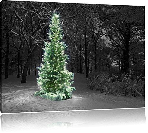 Weihnachtsbaum im Winterwald schwarz/weiß Format: 100x70 auf Leinwand, XXL riesige Bilder fertig gerahmt mit Keilrahmen, Kunstdruck auf Wandbild mit Rahmen, günstiger als Gemälde oder Ölbild, kein Poster oder Plakat