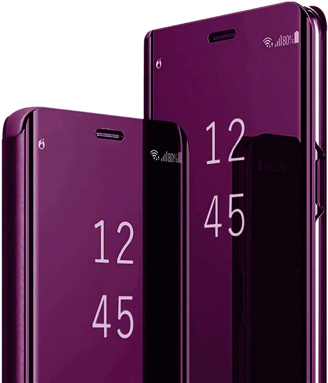 Coque pour Samsung Galaxy S9 Clear View Flip Case Placage Miroir Effet Coque à Rabat Rigide PC+PU Cuir Etui Galaxy S9 360 Full Body Antichoc Clapet...