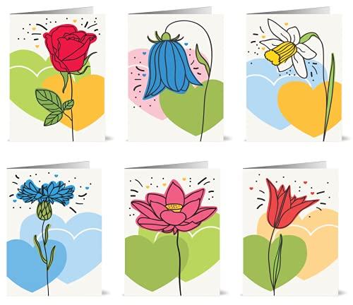 48 biglietti di auguri ecologici, con motivi floreali e buste riciclate