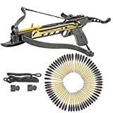 KingsArchery Crossbow Self-Cocking 80 LBS with Adjustable Sights, Spare Crossbow String and Caps, and a Total of 63 Aluminim Arrow Bolt Set Warranty