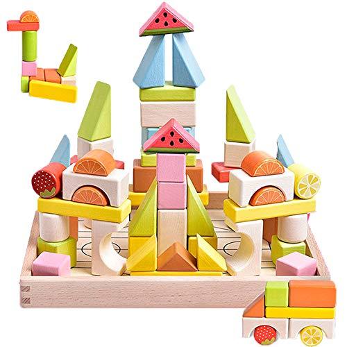 Button Moon 積み木 モンテッソーリ おもちゃ 木製 56PCS カラフル 立体パズル 図形勉強 色認識 子供 知育玩具 誕生日 クリスマス プレゼント 入園祝い 女の子 男の子おもちゃ