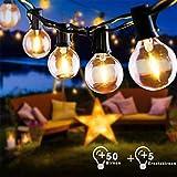 15M Warmweiß Lichterkette Außen Glühbirnen G40 50 Birnen und 5 Ersatzbirnen EU Stecker Garten Retro Lichterkette Innen Außen wasserdichte für Party, Festival, Hochzeiten,Weihnachten