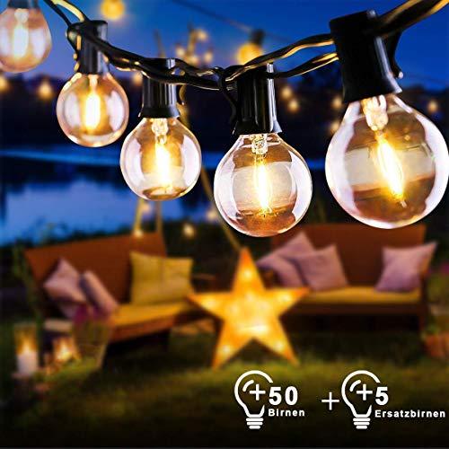 15M Warmweiß Lichterkette Außen pavillon Lichterkette Glühbirnen G40 55 Birnen EU Stecker Garten Retro Lichterkette Innen Außen wasserdichte für Party, Festival, Hochzeiten,Weihnachten