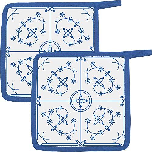 Kracht Topflappen 2er-Pack Baumwolle blau-weiß Größe 22x22 cm