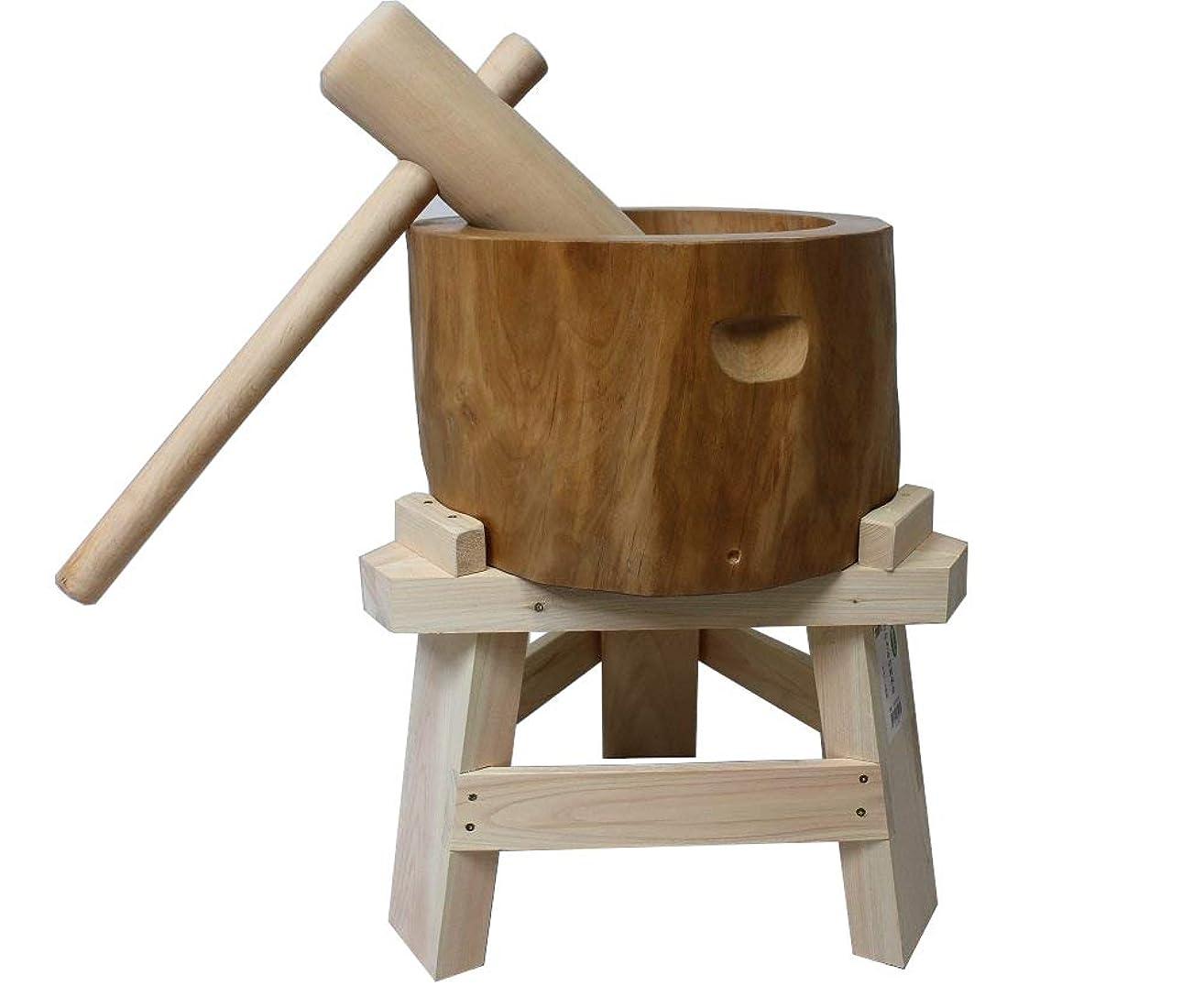 政治家の株式会社赤面【専用木台付き】北海道天然木製ミニもちつきセット