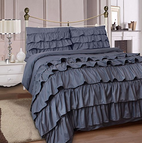 Adam Home Ruffles Duvet Cover With Fitted Sheet & Pillowcase (Grey, Double)