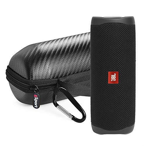 JBL FLIP 5 Portable Speaker IPX7 Waterproof Bundle with gSport Limited Edition Carbon Fiber Case (Black)