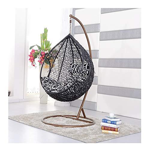LEJZH rotan hangende schommelstoel, weven ei Patio Tuinstoel, met kussen, 200 kg capaciteit Outdoor Tuinmeubelen