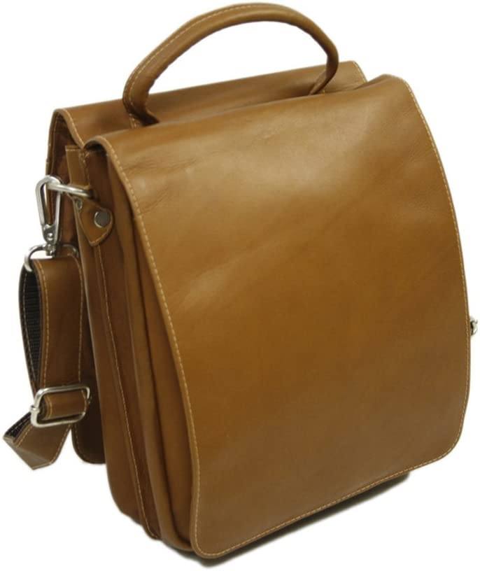 Piel Leather Double Flap-Over Shoulder Bag Chocolate One Size