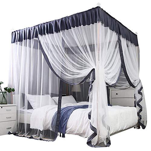 Simple 4 Coin Pilier rideau Lit à baldaquin Lit à baldaquin Cadre Décoration nette Chambre avec une paire de supports 4 et 6 Coupes Top Crochet,Gris,180x220cm bed