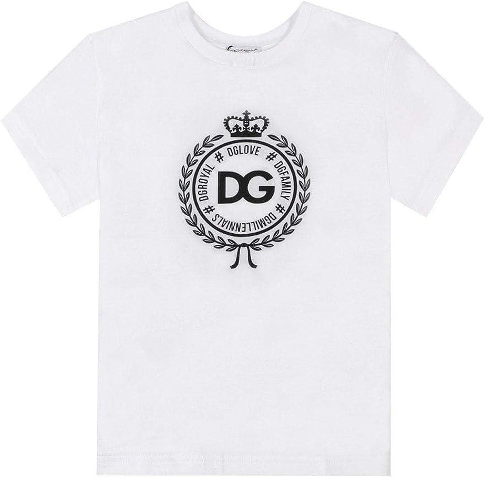 Dolce & gabban, t-shirt per bambini DAI 2 AI 6 ANNI royal emblema, maniche corte, in cotone al 100 %
