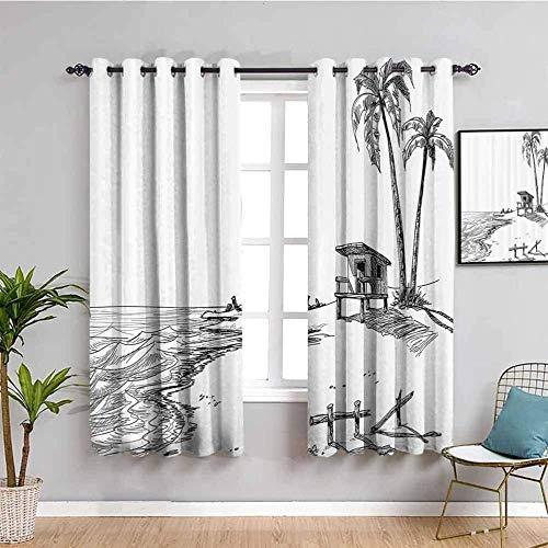 LucaSng Cortinas de Opacas - Blanco Dibujos Animados Playa árboles mar - 280x245 cm - para Sala Cuarto Comedor Salon Cocina Habitación - 3D Impresión Digital con Ojales Aislamiento Térmico Cortinas