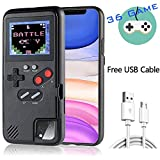 Gameboy Case for iPhone, Retro 3D Design Style Silicone Protective Case with 36 Small Games, Color Display Shockproof Video Game Phone Case for iPhone 11 Pro Max (Black)