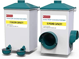 KEBONNIXS Automatic Chicken Cup Waterer and Port Feeder Set, 2 Gallon/10 Pounds