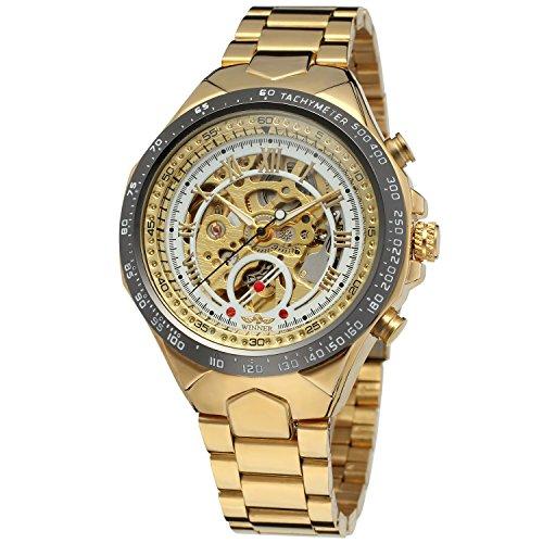 forsining Herren Armband Edelstahl automatische Skelett Armbanduhr wrg8067m4t7
