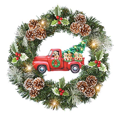 Collections Etc Festive Red Pickup Truck Pups Christmas Holiday Wreath