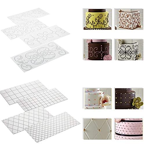 DODUOS 8 Stück Prägematte Strukturmatte Spitze Fondant Matte Fondant Muster Matte für Torten, Cupcakes, Kekse Deko
